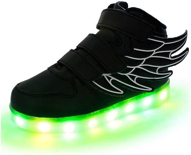 5164fe8209f PAMRAY LED Zapatos Niños Boy niña 7 Color luz Up alas danza Zapatillas USB  carga intermitente regalo del día de los niños. Atrás. Pulsa dos veces para  zoom