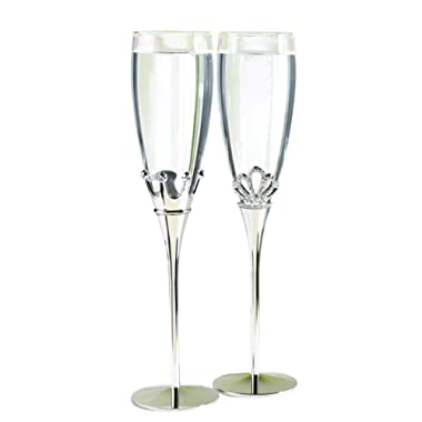 Hortense B. Hewitt Wedding Accessories Champagne Toasting Flutes, King and Queen, Set of 2