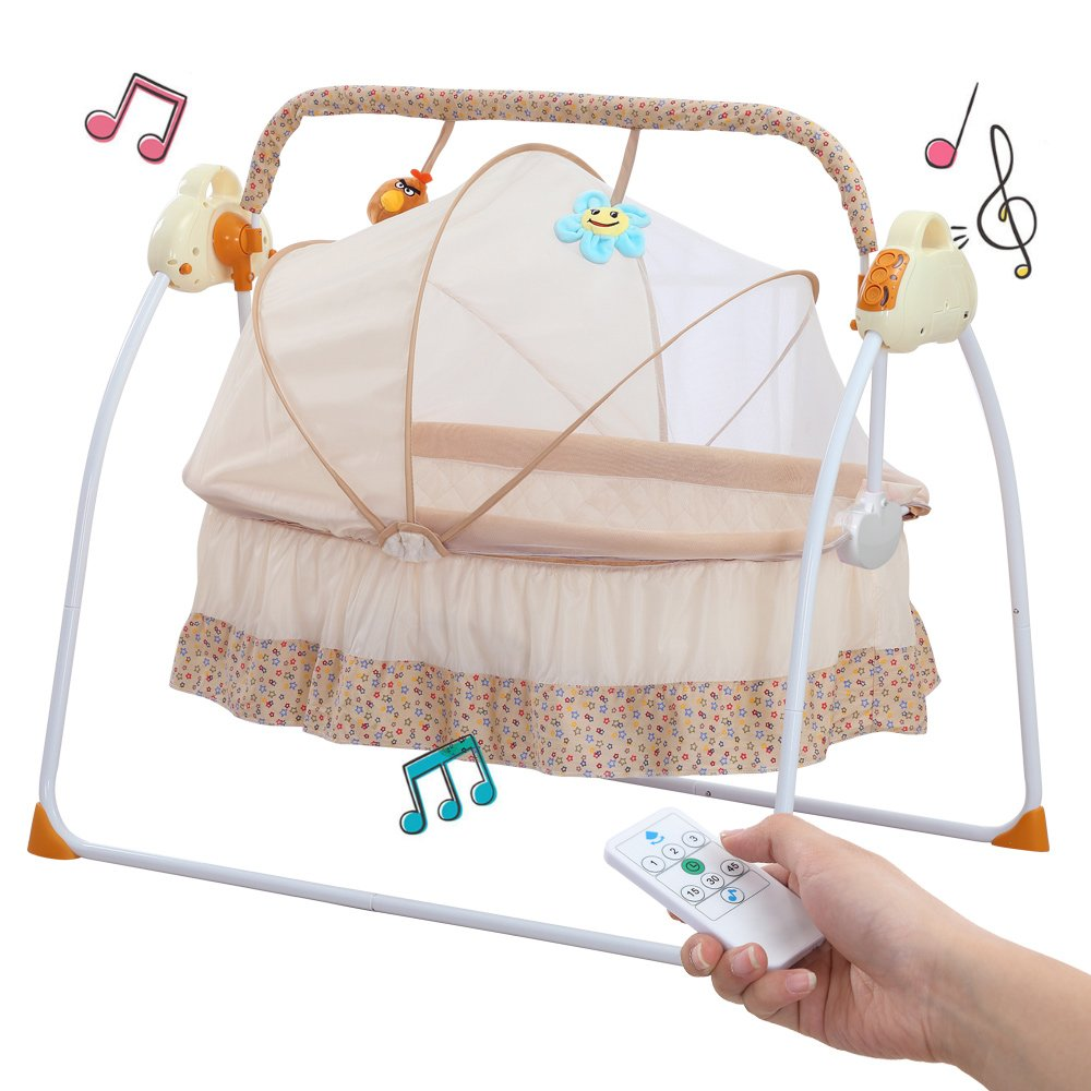 Baby Cradle Swing, Big Space Electric Automatic Baby Swings for Infants Indoor&Outdoor Outside with Dolls, Music. Boys or Girls bassinets Gift(Brown) WSD materials co. ltd C-100