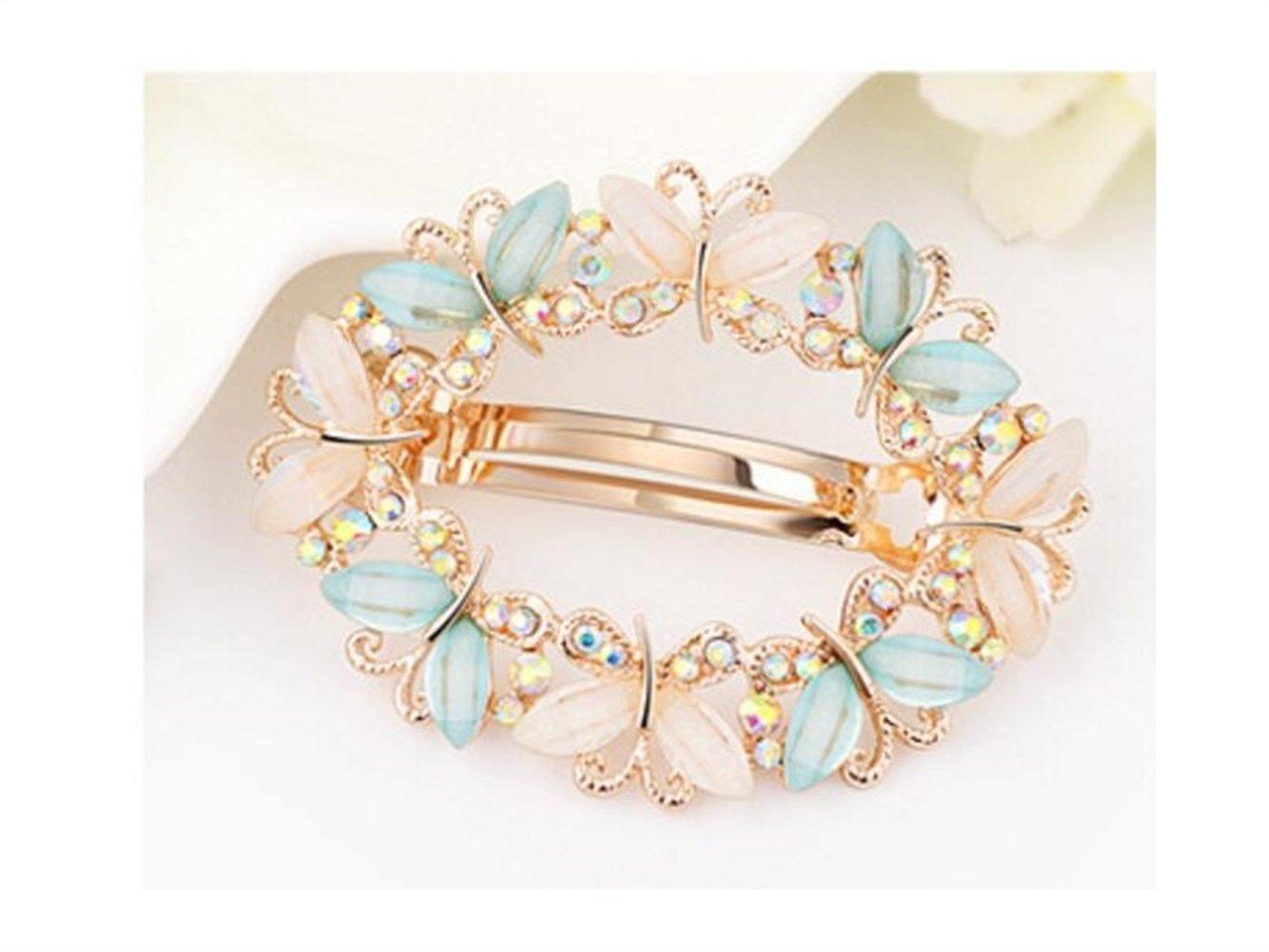 Utile papillon elegante farfalla strass capelli clip Hair styling Tool accessori per capelli per donne (verde) decorate Yourself blueqier