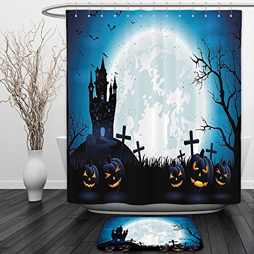 Vipsung Shower Curtain And Ground MatHalloween Spooky Concept with Halloween Icons Old Celtic Harvest Festival Figures in Dark Image BlueShower Curtain Set with Bath Mats (Halloween Music Festival Texas)