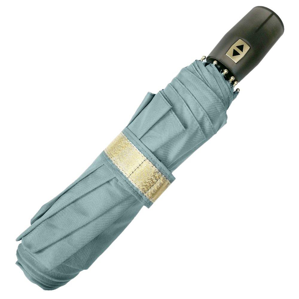 Paraguas Plegable Mujer - Mini Paraguas con detalles dorados - Apertura y Cierre Automatico - Resistente Compacto y Antiviento - 96 cm de diámetro - Perletti Chic - Gris 21216B