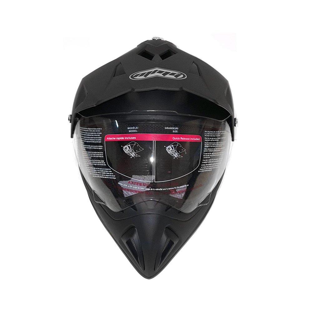 FlipUp Visor L, Matte Black Helmet Dual Sport Off Road Motorcycle Dirt Bike ATV 27V