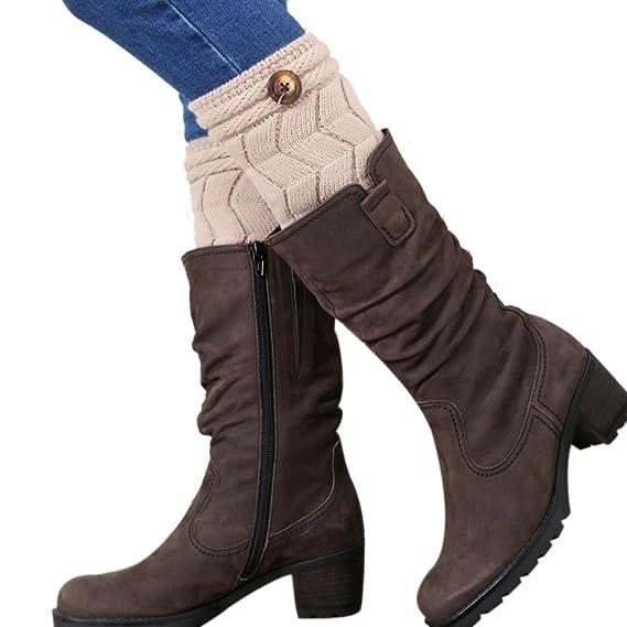FAMILIZO Las mujeres retorcidas hebilla de calentadores de la pierna cubierta de calcetines de arranque (