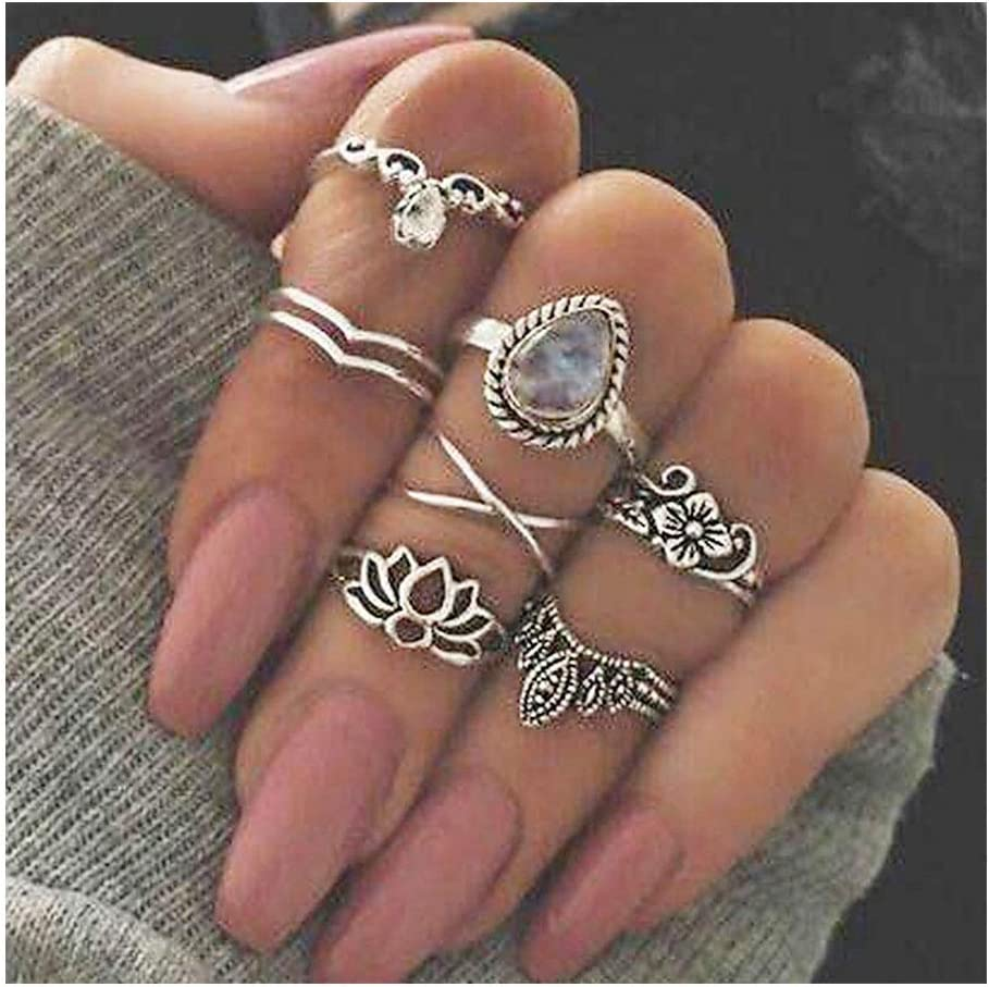 IYOU - Juego de anillos de plata con piedras preciosas para nudillos y nudillos, diseño de flores boho, anillos mediados de joyería para mujeres y niñas (7 piezas)