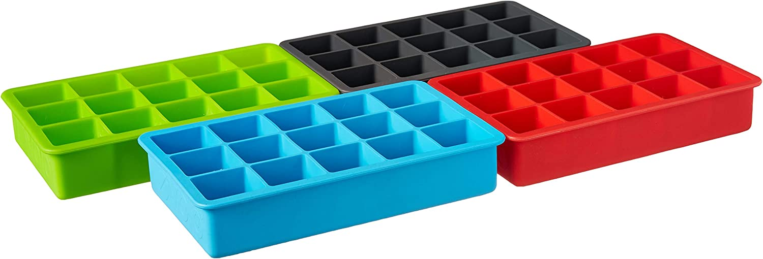 """Tovolo Perfect Cube Ice Mold Trays, Sturdy Silicone, Fade Resistant, 1.25"""" Cubes, Assorted, Set of 4"""