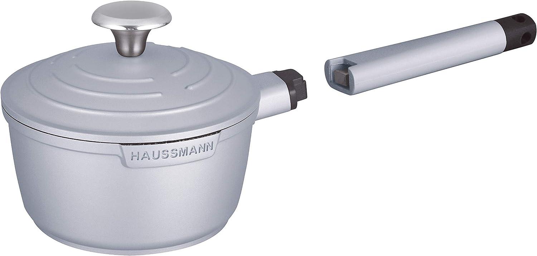 Haussmann H/éritage/® 15 pi/èces Batterie de Cuisine, Haute qualit/és, Rev/êtement fa/çon Pierre-sans PFOA poign/ée Amovible-Tous Feux Dont Induction adapt/é au Four- HM-1557G