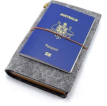 Travel Diary Trip Planner Dark Grey Wool Felt Cover Journal Notebook 7 x 4.5