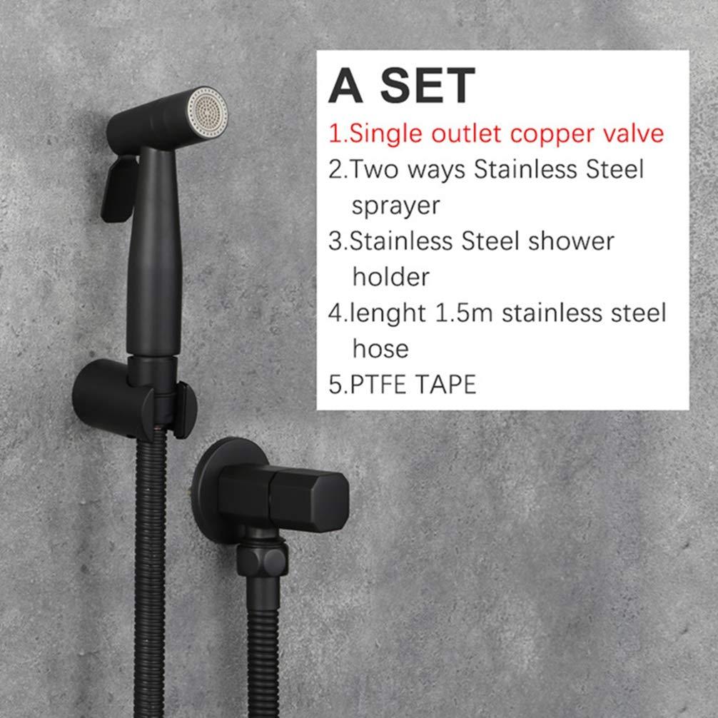 FZHLR Black Stainless Steel Washer Toilet Hand Held Bidet Sprayer Douche Kit 2-Ways Shattaf Copper Valve Set Shower Head,A