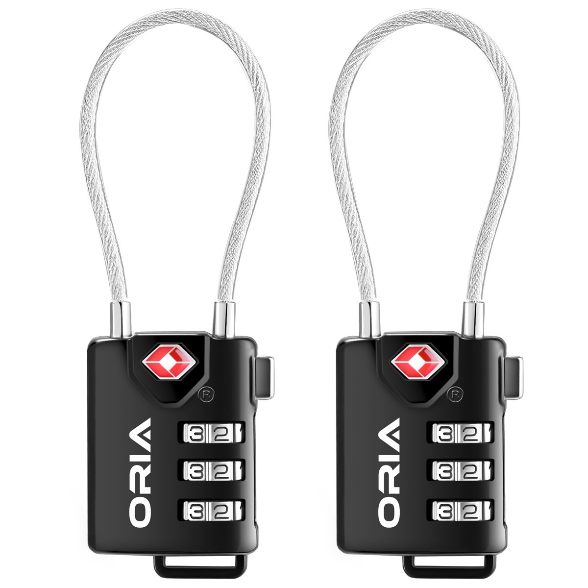 オーリア荷物ロック、ケーブルトラベルロック、TSA承認ケーブル荷物ロック、旅行組み合わせロック、安全南京錠S、バックパック、スーツケース、荷物のキャビネット、ブリーフケース、コンピュータバッグ(Set of 2 ) B072835M4Y