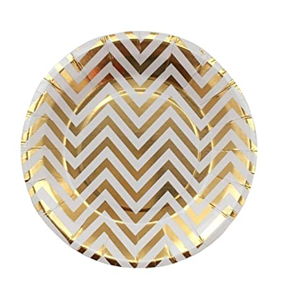 YouMeBest Disposable Paper Plates Foil Gold Chevron Round Paper Plates 9-Inch 32pcs  sc 1 st  Amazon.com & Amazon.com: YouMeBest Disposable Paper Plates Foil Gold Chevron ...
