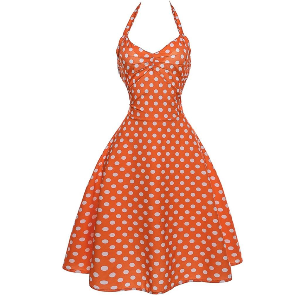 HOSOCHRIS Women Summer Printed Sleeveless Polka dot Halter Evening Party Prom Swing Dress Vintage O-Neck Dress (Orange, S)
