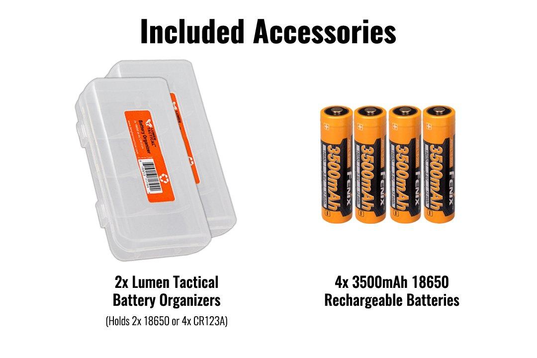 Fenix TK75 2018 5100 Lumens High-Performance Long-Throw Micro-USB Rechargeable Flashlight, 4x 3500mAh 18650 Rechargeable Batteries, 2x Lumen Tactical Battery Organizers by Fenix (Image #2)