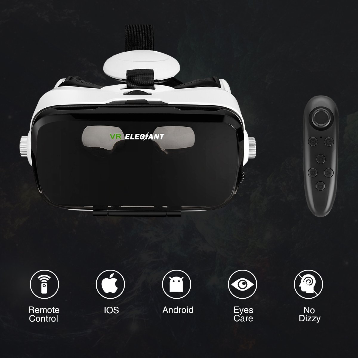 ELEGIANT VR Headset, 3D VR Glasses, Virtual Reality Headset Built-in Headphone by ELEGIANT (Image #7)