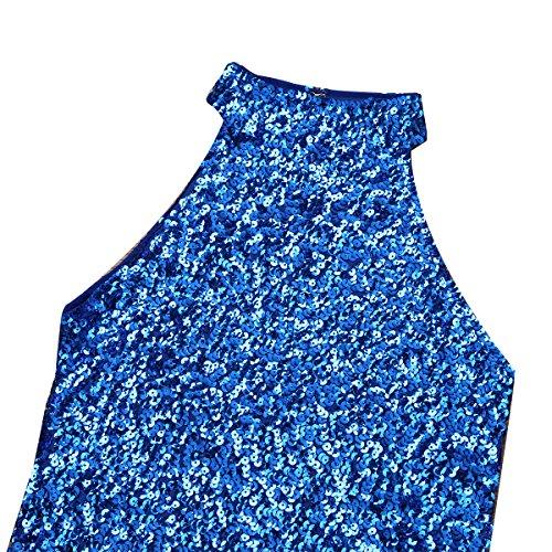 Rollkragen Pailletten Damen Weste Top Unterhemd Unterwäsche Tops T-shirt Tank Iiniim Blau Ärmellos Sommer