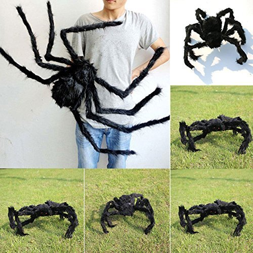 59 Inch 150CM Giant Huge Black Spider Decorations, Halloween Large Size Realistic Fake Hairy Spider Decor, Outdoor Big Spider Props for Halloween Party, Garden Patio Spiderweb Decoration -
