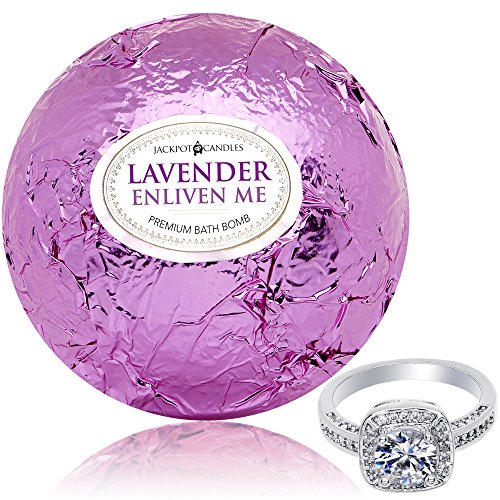 Bath Bomb with Ring Surprise Inside Enliven Me Lavender Extra Large 10 oz. Made in USA