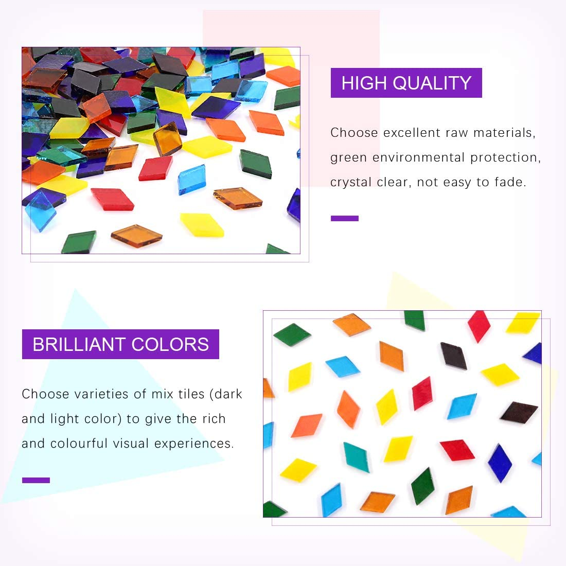 Transparent, Triangle Swpeet 1 Pound Mosaic Tiles Mixed Color Mosaic Glass Pieces with Organizing Container Triangle Genuine Mosaic Tiles Glass Pieces Mosaic Perfect for Home Decoration Crafts