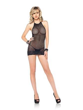 c62f8623df5 Leg Avenue Women s Lace Trimmed Crochet Net Halter Mini Dress