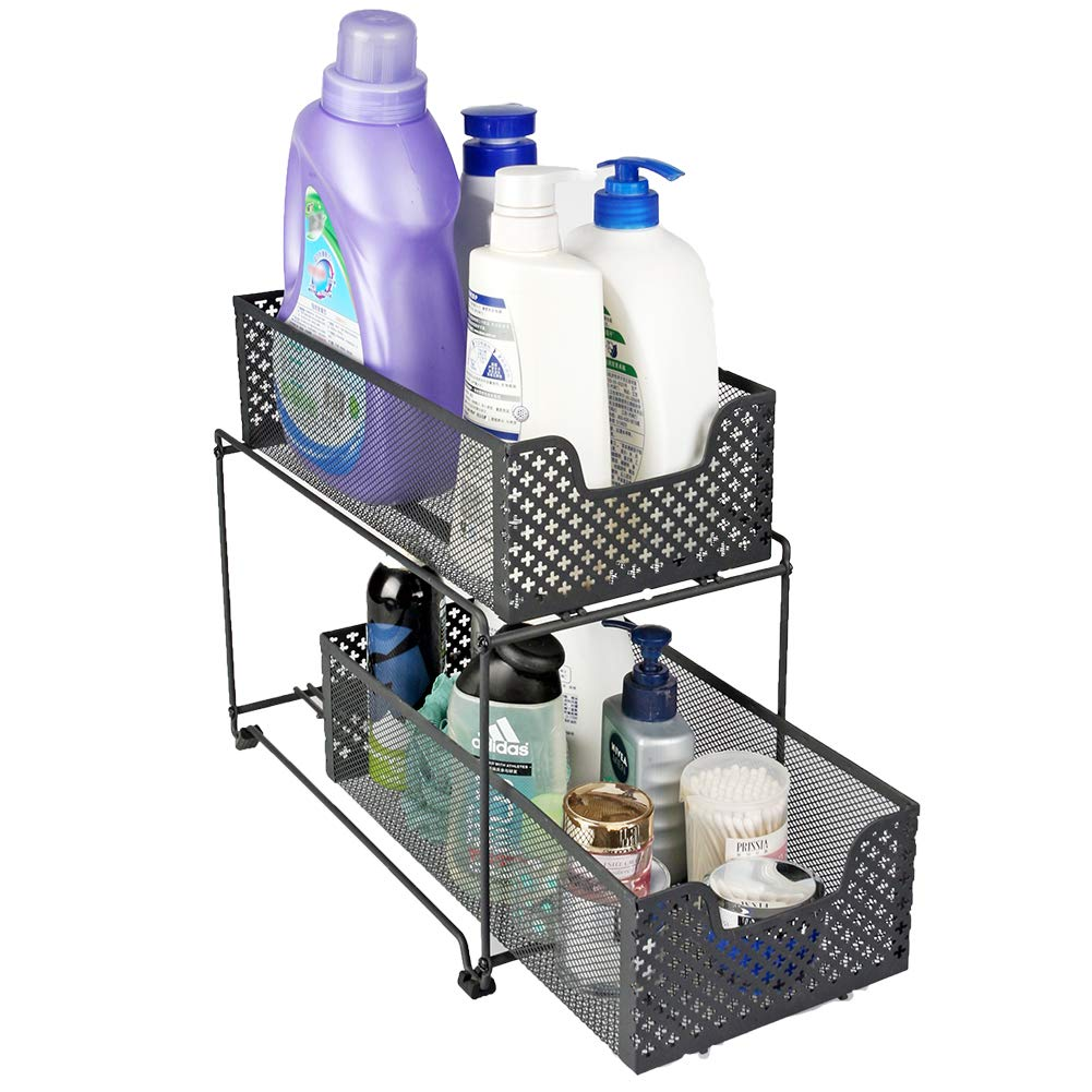 MustQ 2 Tier Organizer Baskets with Mesh Sliding Drawers, Ideal Cabinet, Countertop, Pantry, Under The Sink, and Desktop Organizer for Bathroom,Kitchen, Office. by MustQ