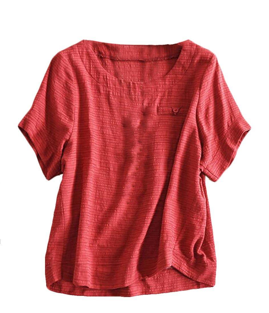 YUELANDE Women Essential Casual Solid Color Loose Linen Tops Blouses