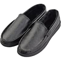 Men's Leather Like Plush Lining Indoor Outdoor Bedroom Moccasin Slippers (FBA)