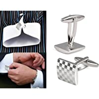 Keyboxing Mens Silver Square Checkerboard Cufflinks