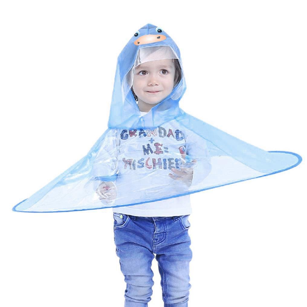 Kids Rain Coat,Sagton Cute Animal UFO Design Magical Hands Free Raincoat with Hat (Blue, S)