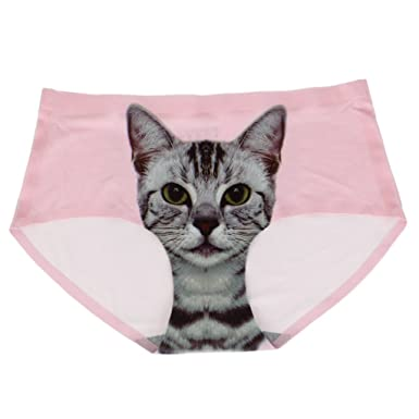 b4593734f814 Image Unavailable. Image not available for. Colour: Women's Nylon Pussy Cat  Panties Printing Underwear Seamless ...