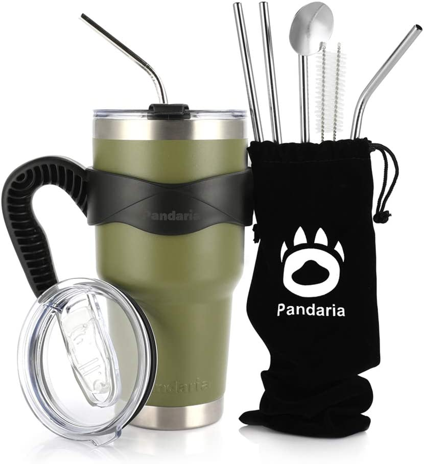 Pandaria 30oz Stainless Steel Vacuum Insulated Tumbler Set Double Wall Travel Mug Coffee Cup with Metal Straws, Splash-Proof Lids & Easy-Grip Handle for Ice Drink & Hot Beverages, Army Green