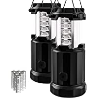 Etekcity 2 Pack Portable LED Camping Lantern Flashlights with 6 AA Batteries, Upgraded Magnetic Base and Dimmer Button - Survival Kit for Emergency, Hurricane, Outage (Black, Collapsible)