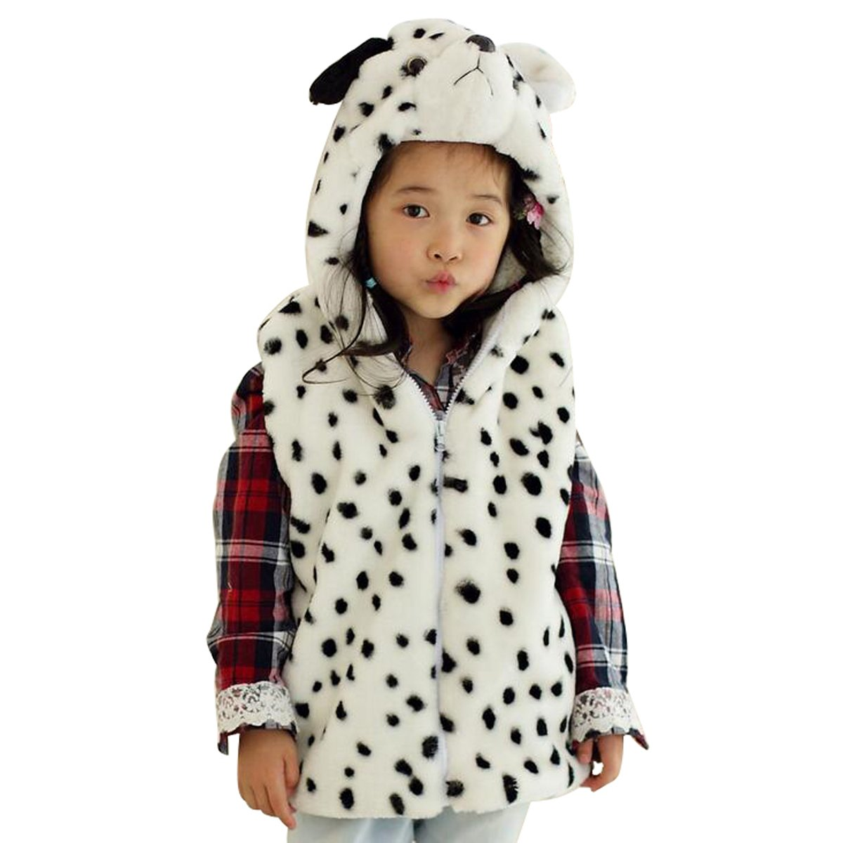 Hanstyle Unisex Toddler/kids/child Cartoon Plush Hooded Vest Costumes, Dot Dog (M(5-9Y)) by TOLLION (Image #1)
