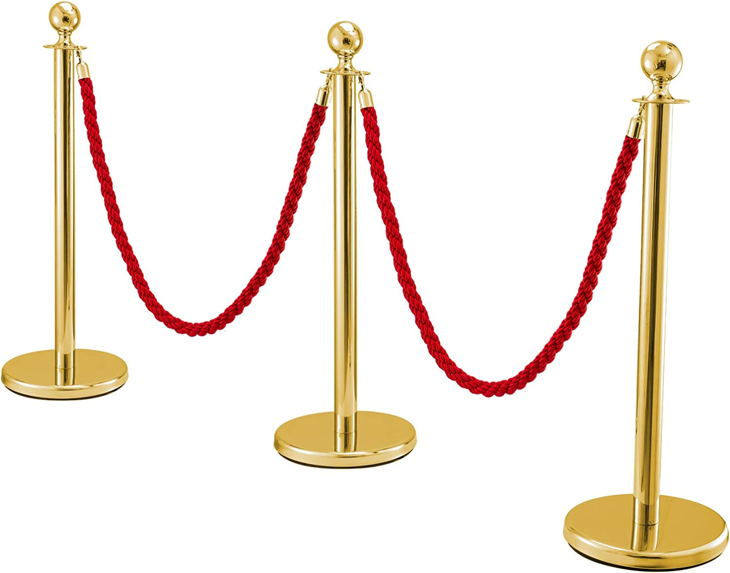 FlowerW Set of 3 Retractable Silver Round Top Stanchion Post Queue Crowd Control Barrier Posts Line Pole with 1.5M Red 2 Twine Rope