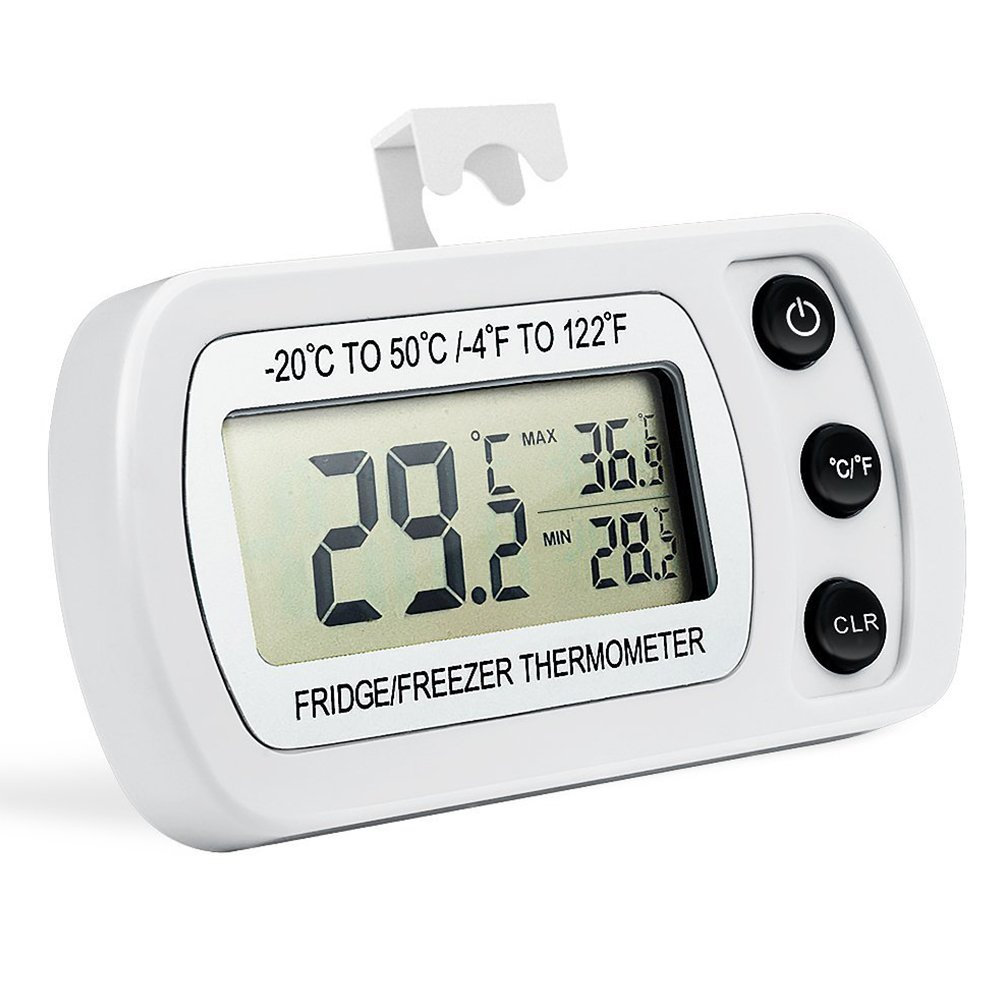 Digital Refrigerator/Freezer Thermometer, AIGUMI Waterproof Freezer Thermometer with Hook - Easy to Read LCD Display, Max/Min Function - Perfect for fridge (1 Pack of White -2) EKZ89DE