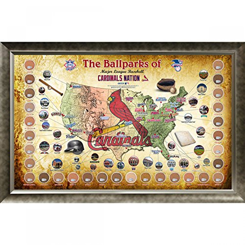 Major League Baseball Parks Map 20x32 Framed Collage w Game