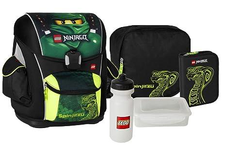 LEGO Ninjago - Juego de mochila escolar con accesorios (6 piezas), color verde