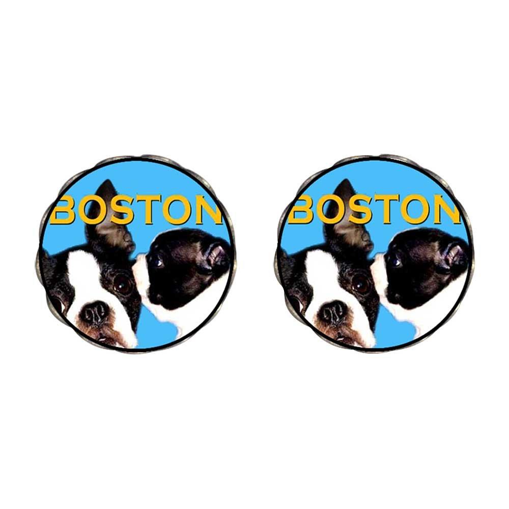 GiftJewelryShop Bronze Retro Style Boston Terrier Photo Flower Stud Earrings 14mm Diameter