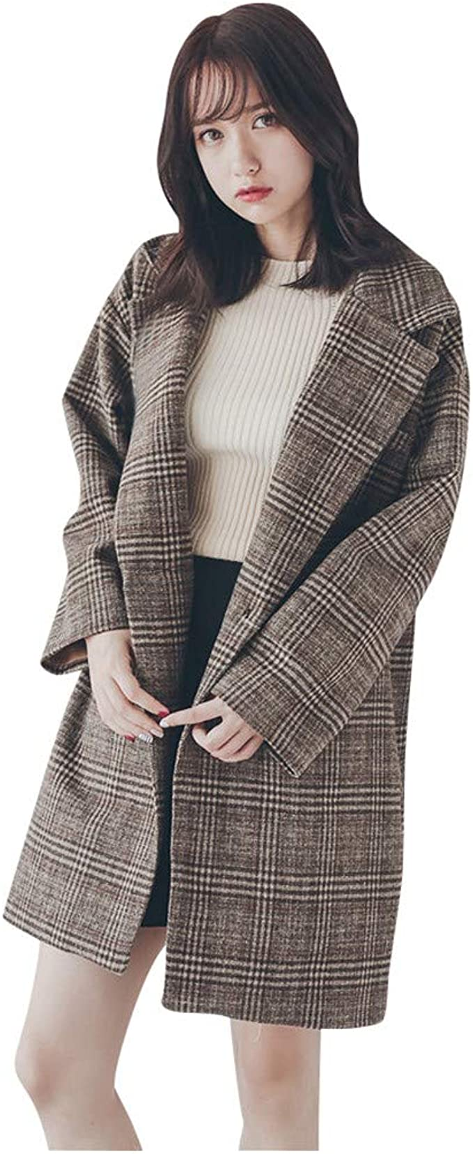 lang Kunstfellkragen Knopfleiste FIRMON-Coat Damen Mantel mit Kapuze G/ürtel