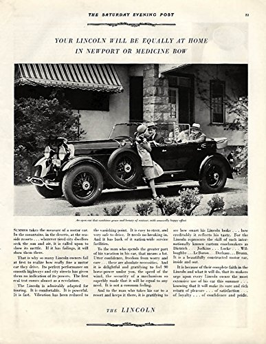 Equally at home in Newport or Medicine Bow Lincoln Dual-Cowl Phaeton ad 1929 P