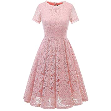 76c706e7377 Image Unavailable. Image not available for. Color  Women s Vintage Floral  Lace Cap Sleeve Retro Swing Elegant Bridesmaid Dress (Pink ...