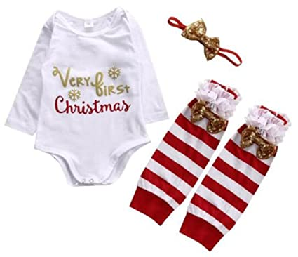 53c3ab086 Newborn Baby Girls Long Sleeve Deer Romper +Leg Warmer+Headband Xmas  Outfits Set size