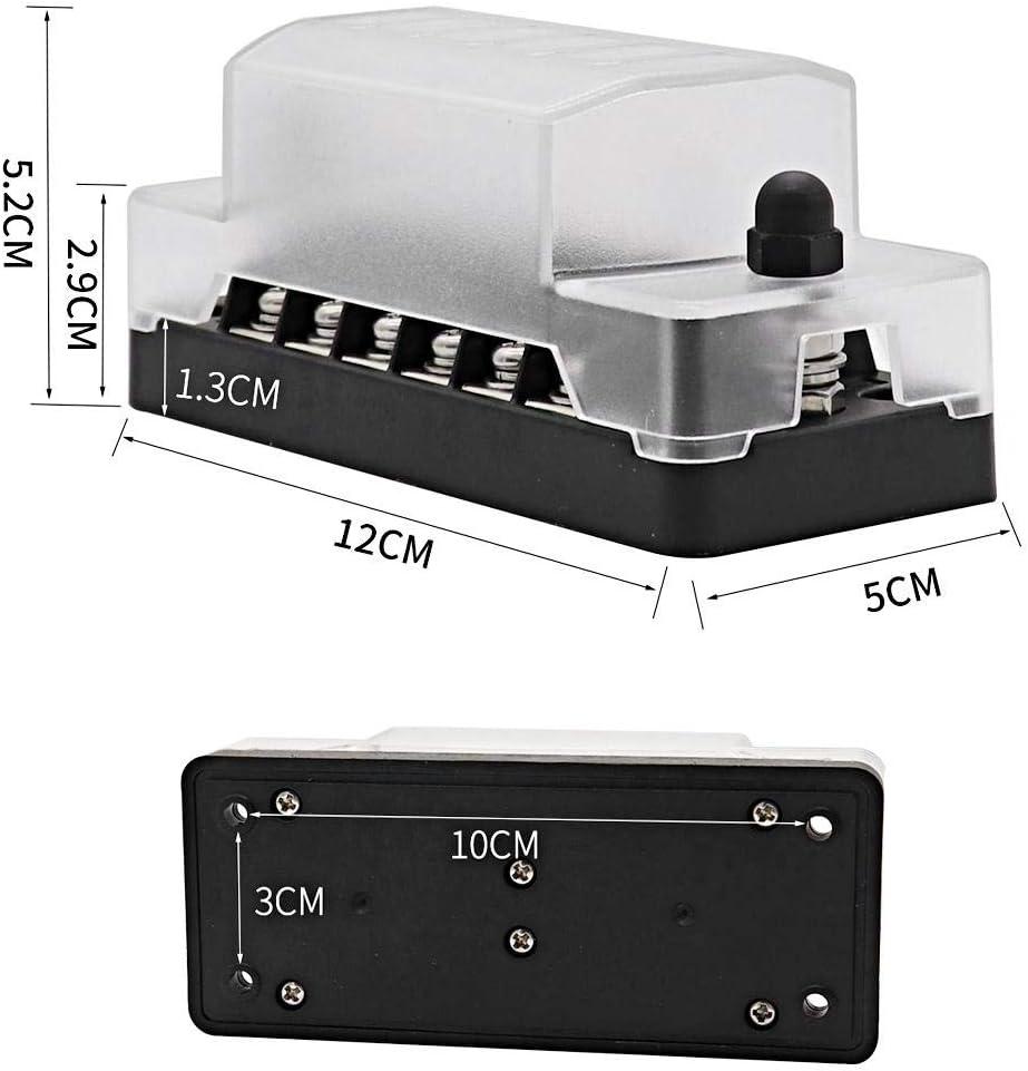 6 Way Circuit Circuit Standard Blade Fuse Box Block Holder para ATC ATO 1A-20A Suuonee Fuse Block