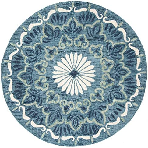 Safavieh Novelty Collection NOV602M Handmade Wool Area Rug, 6 x 6 Round, Blue Ivory