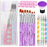 15PCS Acrylic Nail Brush Set with UV Gel Nail Art Brushes and Double Ended Nail Dotting Pen Set Two Finger Toe Separators and