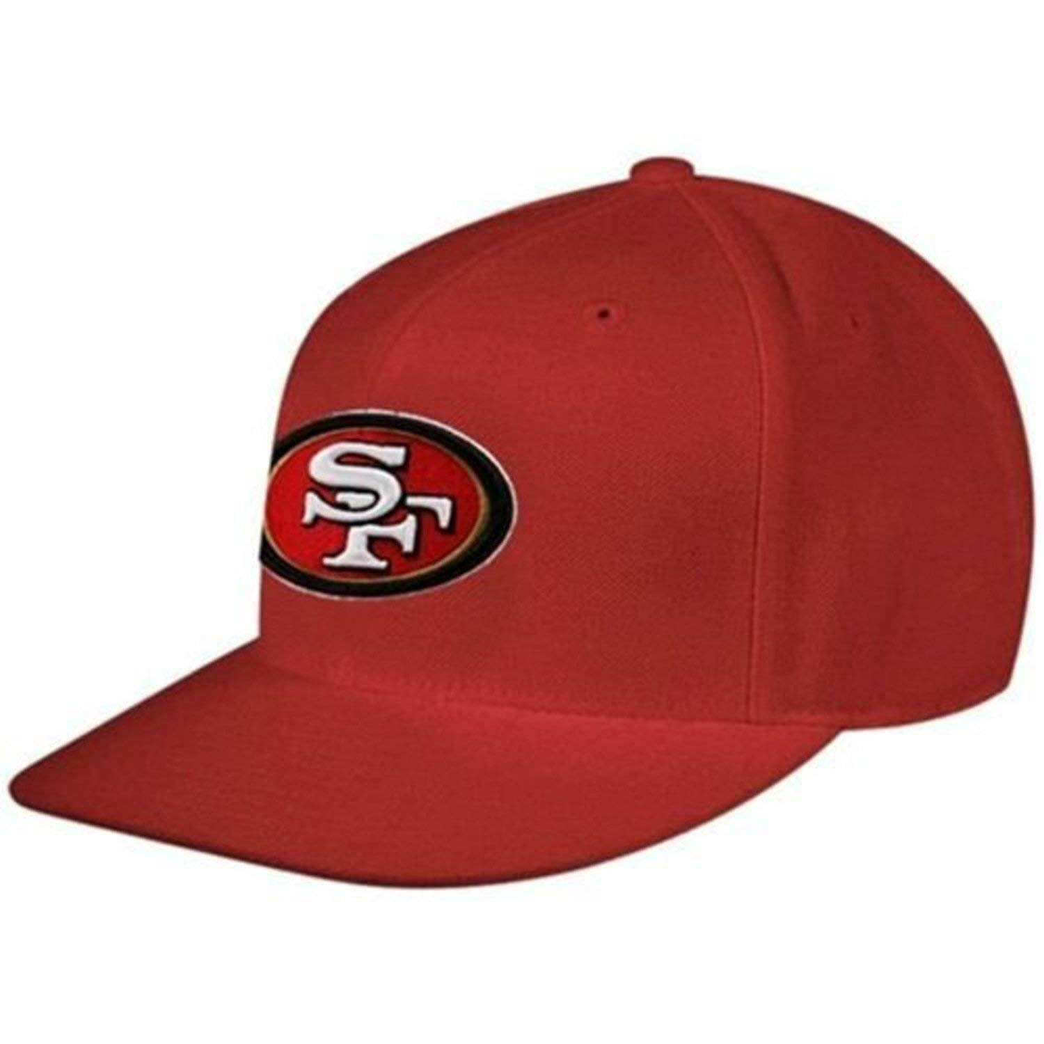 designer fashion 1c9e5 0707f Amazon.com  Reebok Men s NFL Hat San Francisco 49ers Flat Brim Red Fitted  Headwear Cap 7 5 8  Sports   Outdoors