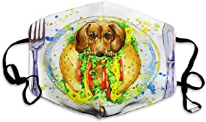 DISGOWONG Mouth Shield Reusable Unisex Adjustable Covers Funny hot Dog Fast Food Splash Watercolor Textured Background Face Shield