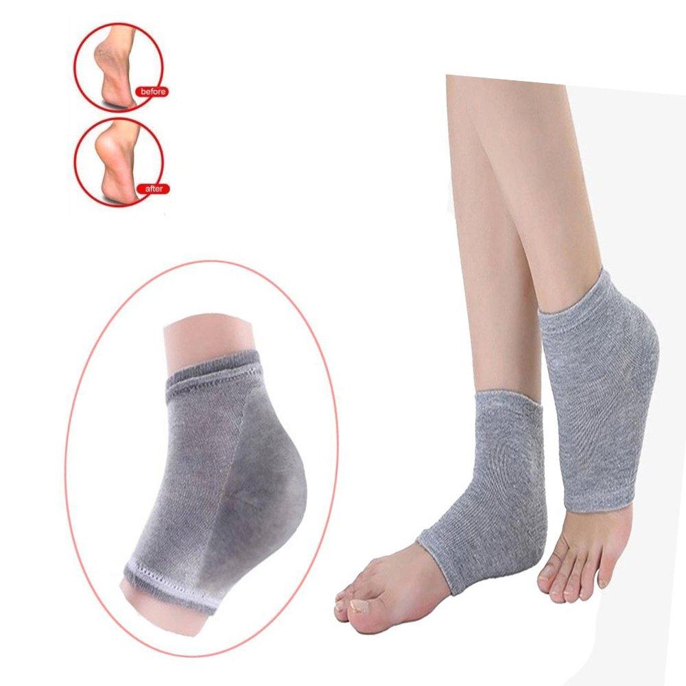Pinkiou Heel Socks for Cracked Heels Moisturising Silicone Gel Protectors Socks (White) Gel Heel Socks