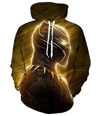 86eeb2fe94e 1Bar Black Panther Marvel Hoodie Pullover Sweatshirt 3D Print Yellow Glow  Hoody Winter Warm Hooded Sweater