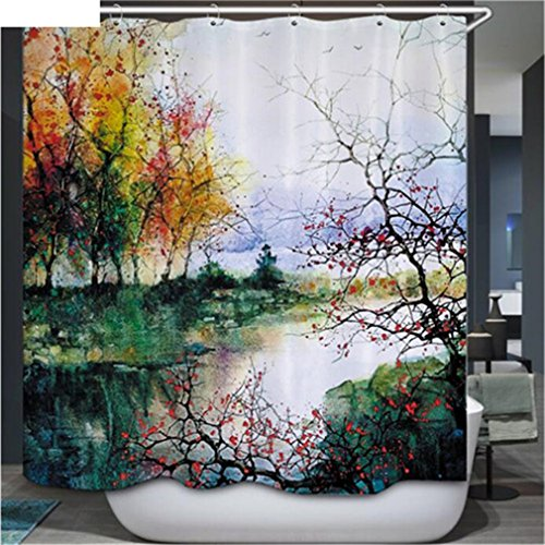 Hot Bathroom Shower Curtains Colore Tree Design Polyester Waterproof Bath Curtains With Hooks Bathroom Product Rideau Douche Type 9 180cm wide200cm high