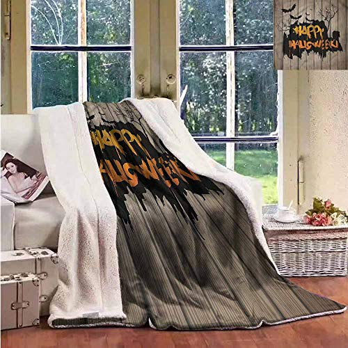 Sunnyhome Beach Blanket Halloween Quote Bats Art Reversible Blanket for Bed and Couch -